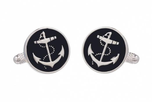 Anchor Cufflinks on Black Background
